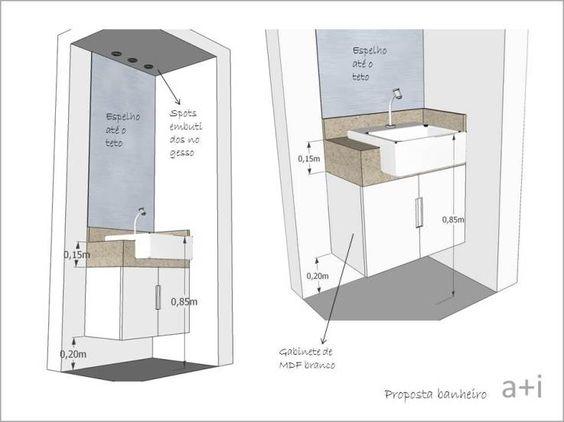 Qual A Altura Do Espelho No Banheiro : Projeto bancada banheiro banheiros medidas t?cnicas