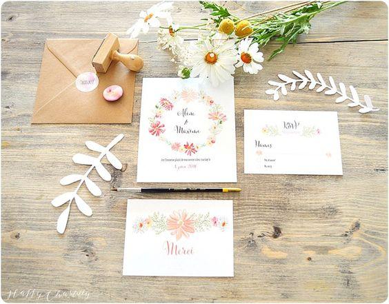 faire part mariage floral