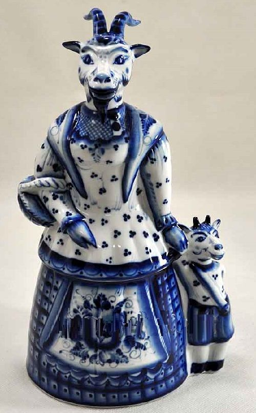 2015 Blue Wooden goat. Blue goat with a kid 2015 Gzhel porcelain sculpture, photo from website gzheli.net: