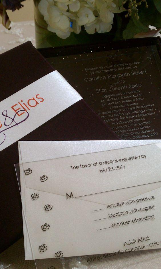 Acrylic Wedding Invitation With Plastic RSVP Card Invitation Weddinginvitation Montagewedding