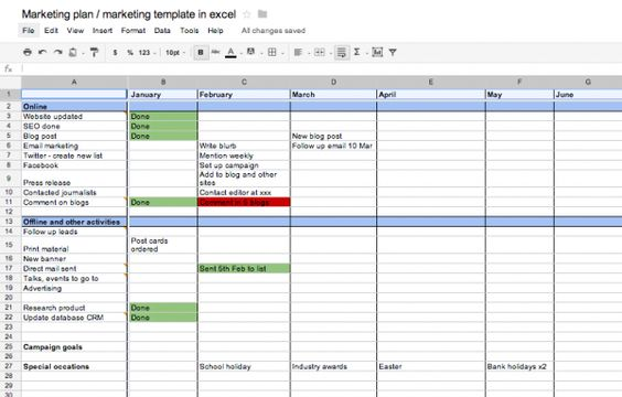 Marketing Plan Excel Template  Entrepreneurship