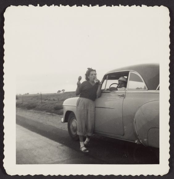 Girl leaning on car; Unknown; United States; 1950s;