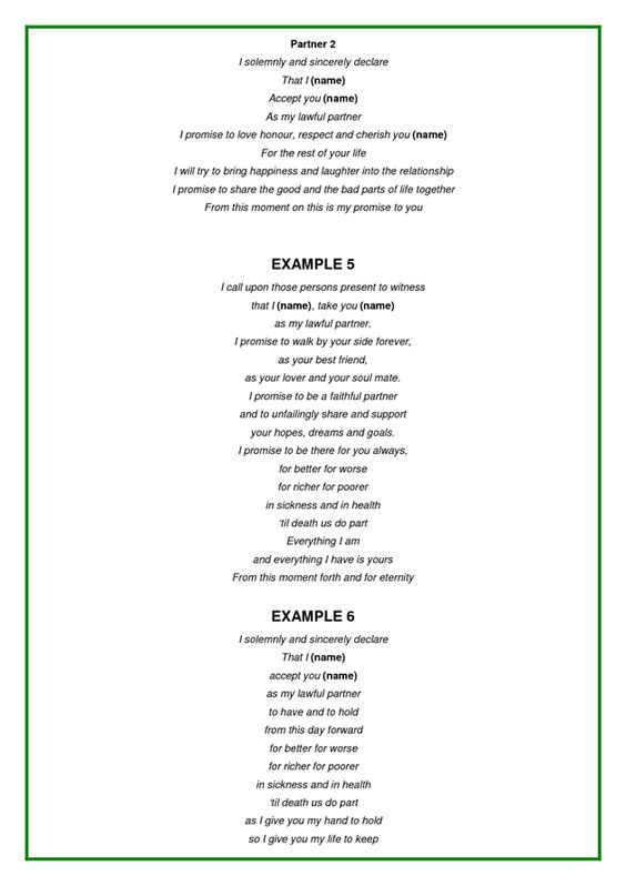 Examples Of Wedding Vows