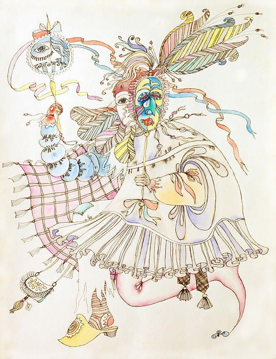 Carnival. Painting by Asya Ostrovsky, Watercolor