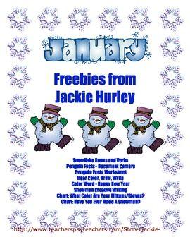 January Freebies http://www.teacherspayteachers.com/Store/Jackie-Hurley