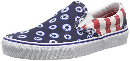Vans Classic Slip-on, Unisex-Erwachsene Sneakers, Mehrfarbig (Dyed Dots & Stripes/Blue/Red), 40 EU