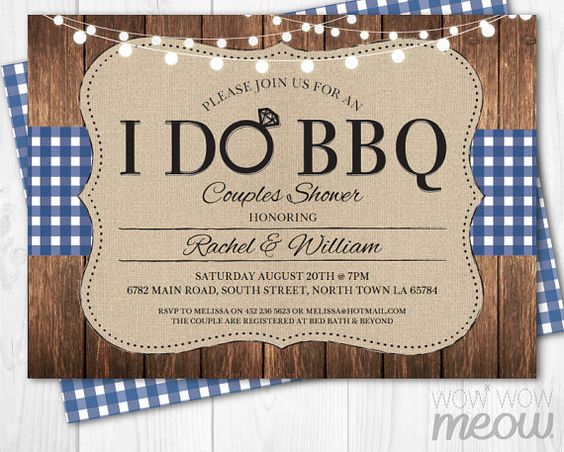 I Do BBQ Couples Shower Invite Engagement Party Navy by wowwowmeow
