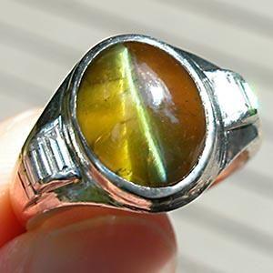 Vintage Cats Eye Tourmaline Silver Ring