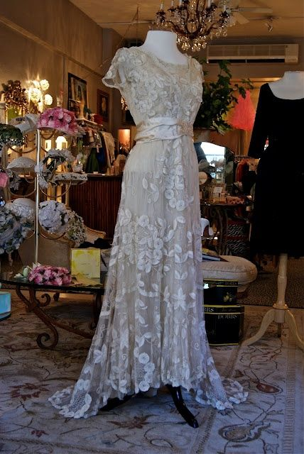 Welp, I found my wedding dress... Too bad it's WAY out of my league. Beautiful Edwardian lace wedding gown. (circa 1910)