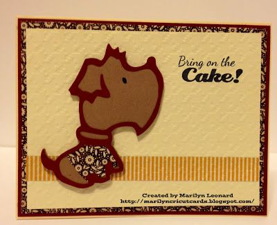 ~ Marilyn's Cricut Cards ~: Pup Cake Card.  Uses Cricut Paper Pups cartridge.