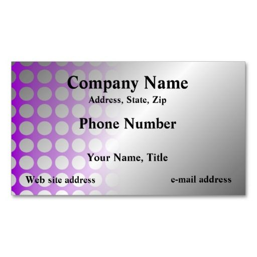 A Bold Yet Elegant Business Card With Purple Graphic Of Holes Against Silver Background Your Customers Will Remember This One