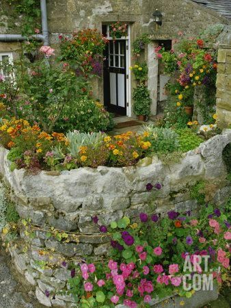 Detail of Cottage and Garden, Yorkshire, England, United Kingdom, Europe Photographic Print by Woolfitt Adam at Art.com