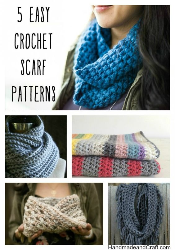 5 Easy Crochet Scarf Patterns...these are perfect for an evening ...