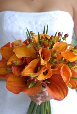 orange calla lilly wedding bouquets - exotic flower bouquet