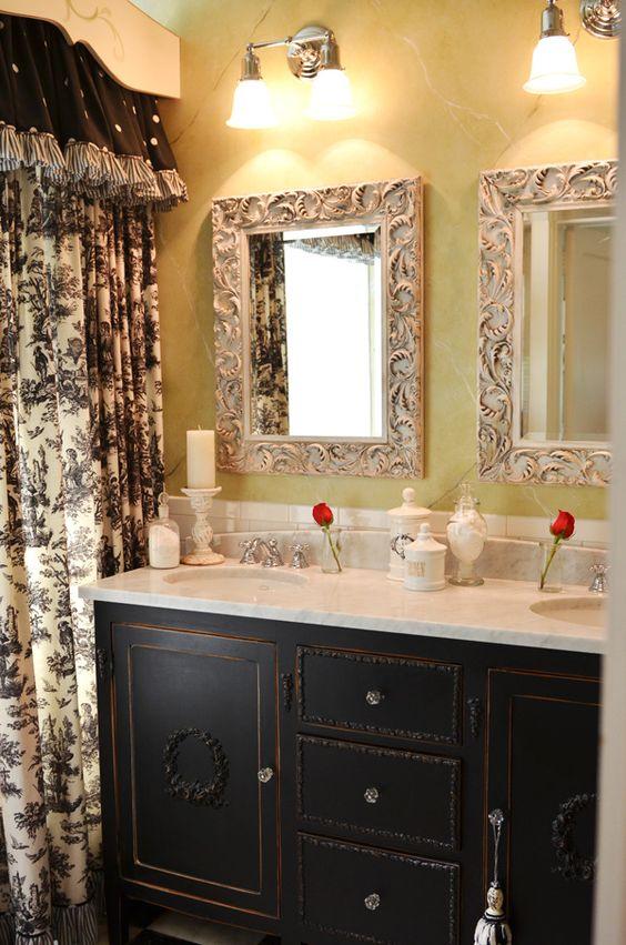 Black and white toile bath accessories b wall decal - Toile bathroom decor ...
