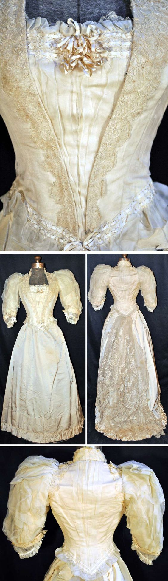 Evening gown, Arnold Constable NY (retailer), ca. 1890. Two-piece gown of ivory satin and gauze. Abby's Vintage/ebay