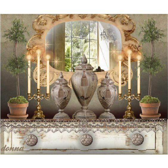 Close-Up Vignette 3 by green-crafts on Polyvore featuring interior, interiors, interior design, home, home decor, interior decorating, Ethan Allen, Uttermost and vignette