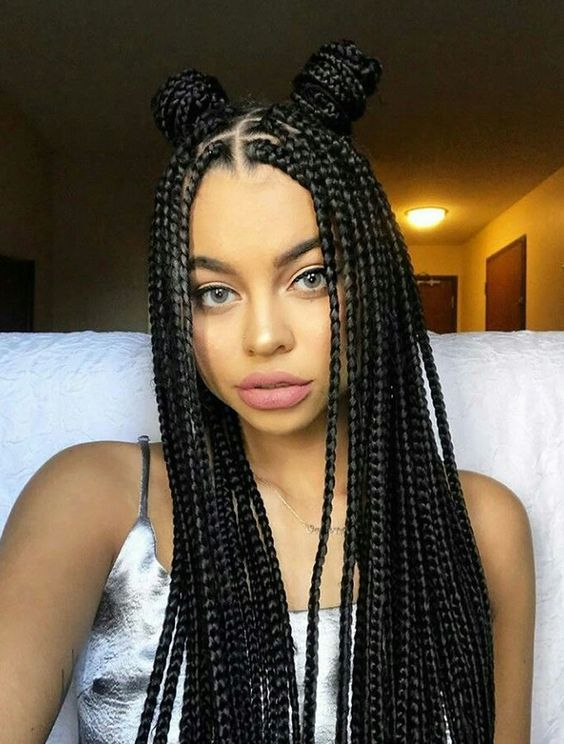 Spunky Space Buns Box braids