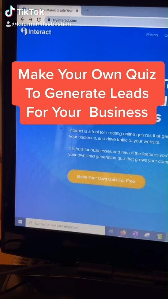 Make Your Own Quiz To Generate Leads For Your Business Free Tool Video Small Business Marketing Cool Websites Useful Life Hacks