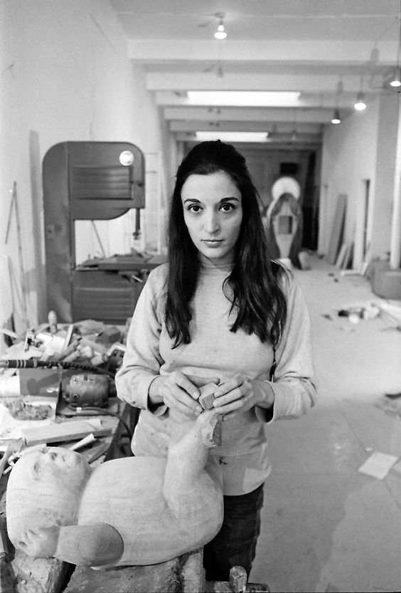 """Photo by Jack Mitchell, Marisol Working on """"The Family,"""" 1969, photograph."""