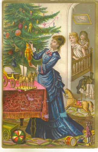 Advertising Christmas Trade Card R. Schwarz Toys & Dolls Boston, MA