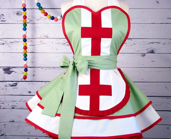 Nurse Apron by Dots Diner -- in stock. $78.00, via Etsy.