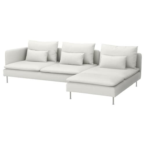 Soderhamn Loveseat With Chaise Finnsta White Ikea In 2020 Fabric Sofa Chaise Sectional
