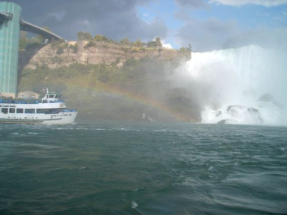 a rainbow at the bottom of the falls