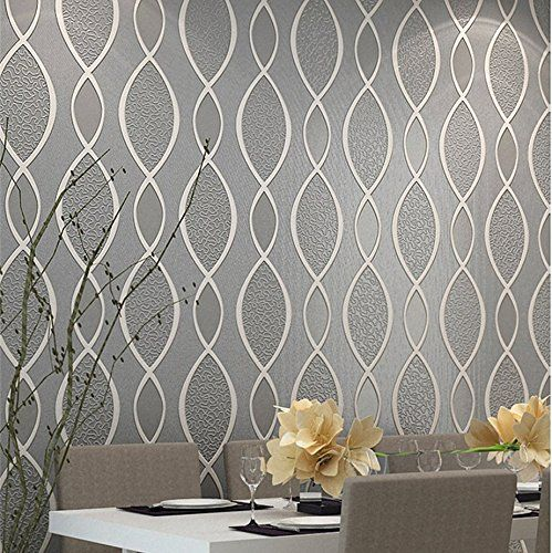 Blooming wall extra thick non woven modern leaf flow for Textured kitchen wallpaper