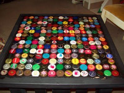 Caves beer caps and bar on pinterest for Beer cap bar top