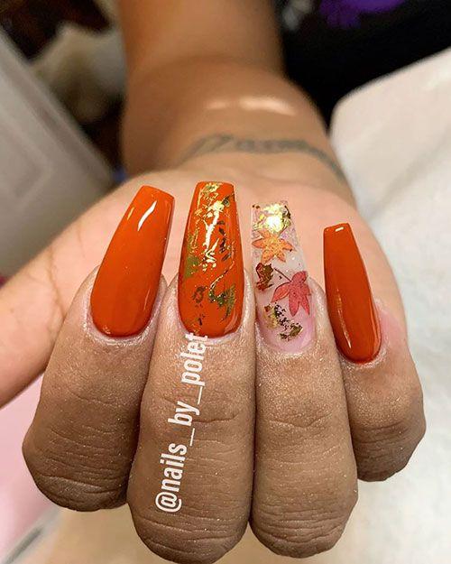Most Beautiful Fall Nail Designs 2019 Stylish Belles Orange Nail Designs Fall Nail Designs Orange Nails