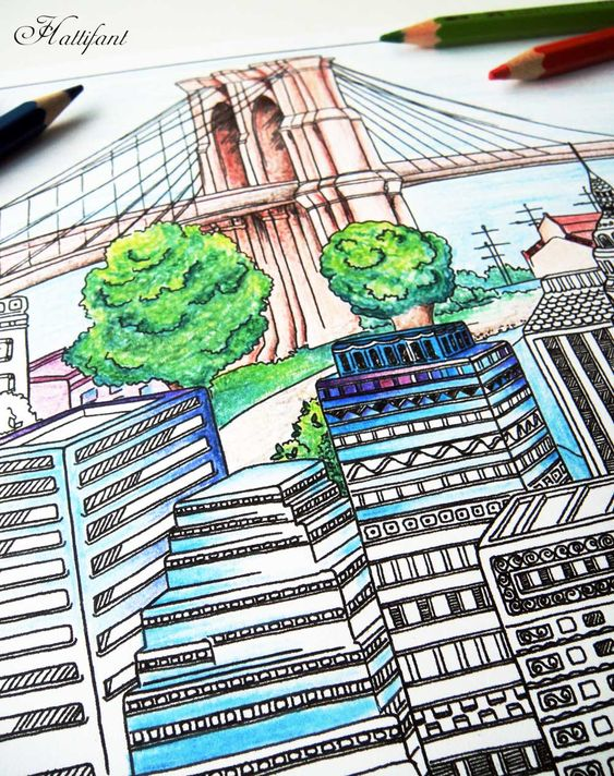 Hattifant City coloring Page for adults together with Coloring Tribe
