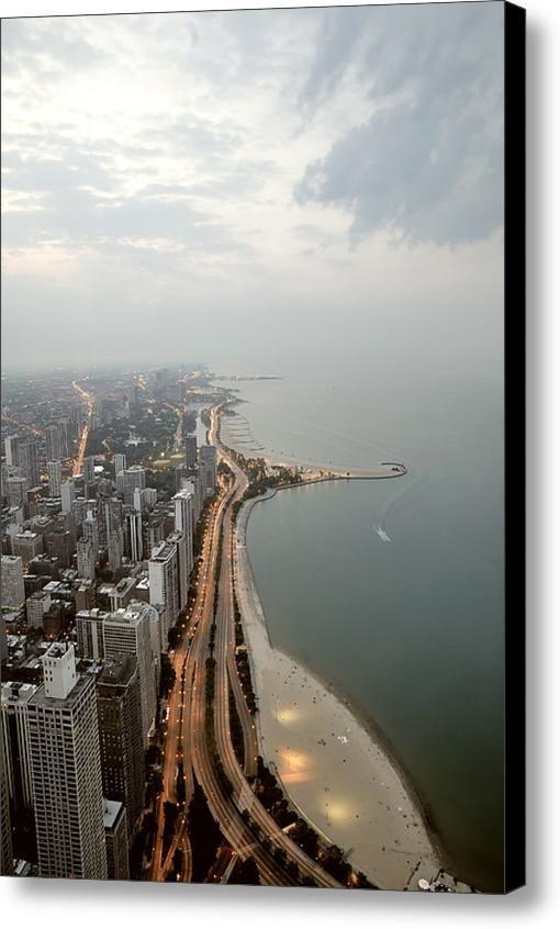 Lake Michigan And Chicago Skyline Canvas Print Canvas Art By Ixefra Chicago Skyline Lake Michigan Chicago Travel