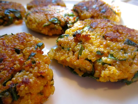 Sriracha Quinoa Cakes with Goat Cheese and Spinach