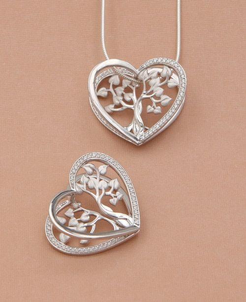 Fancy Pendant Diamond  Pendant Tree Shape Pendant 92.5 Sterling Silver Pendant