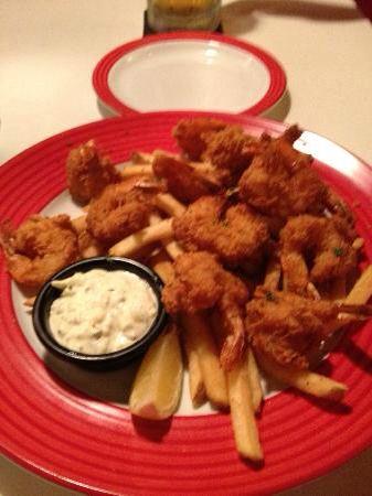 TGI Friday's--- Friday's Shrimp: 730 cal, 53 carbs, 21 protein.