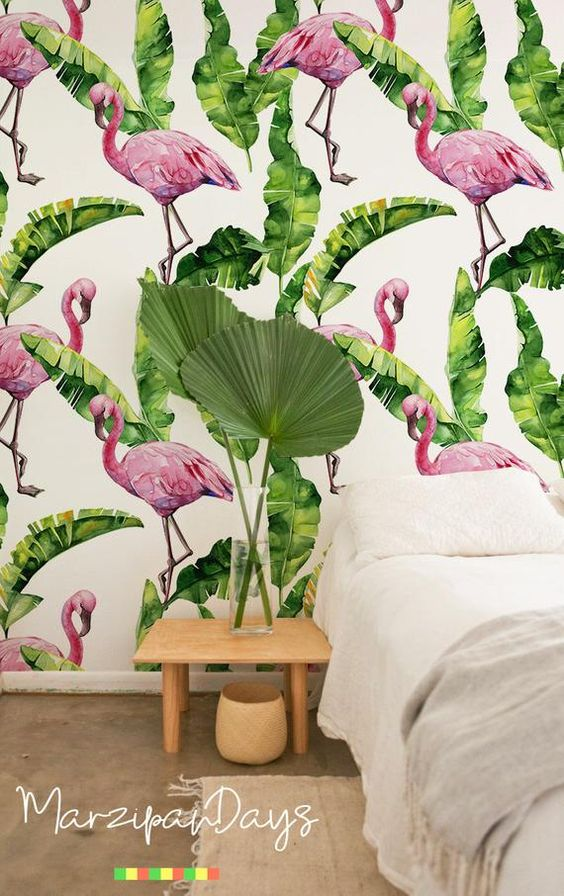 Flamingo and Tropical Green Leaves, removable wallpaper - contemporary, watercolor, feminime, abstra