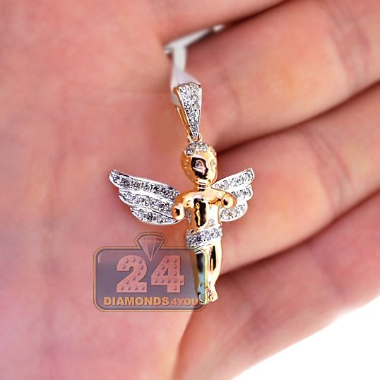 Mens Diamond Guardian Angel Wings Pendant 10k Yellow Gold 60ct Diamond Mens Pendant Plain Gold Pendant