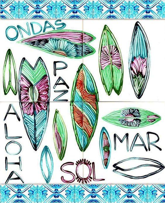 aloha :) #tiles #azulejos #handmade #naturelovers #surf #tileaddiction #ceramic #inspiration #aloha by azulejoshluz