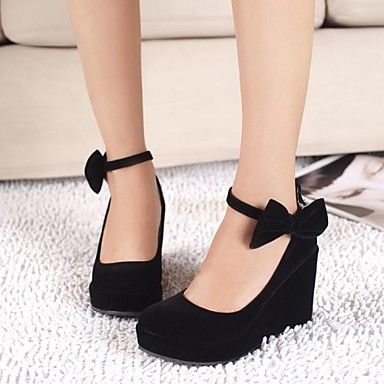 Platform Wedges with Bows in Black | stylo | Pinterest | Coins