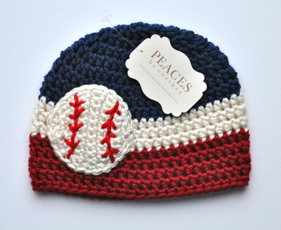 Fin needs!!! Baby Baseball Hats  Red White & Navy Blue by peacesbycortney, $28.00. Could be cool to make it rockies colors.