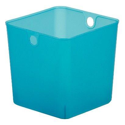 Plastic cube storage bin 11 room essentials shelves for Teal bathroom bin