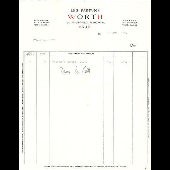 Worth - Facture des Parfums Worth, 120 Faubourg Saint-Honoré, Paris (1937)