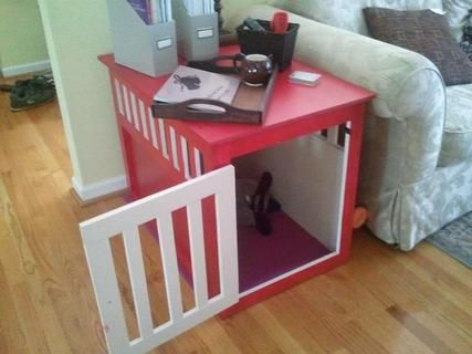 Large Wood Pet Kennel End Table - Fab idea!