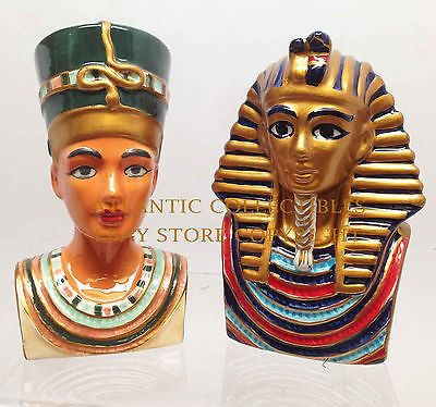 Decorative Salt Pepper Shakers Kitchenware Ceramic King Tut and Queen Nefertiti