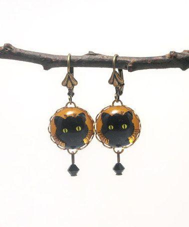 This Orange & Black Swarovski Crystal Whiskers Drop Earrings by Schmutzerland is perfect! #zulilyfinds