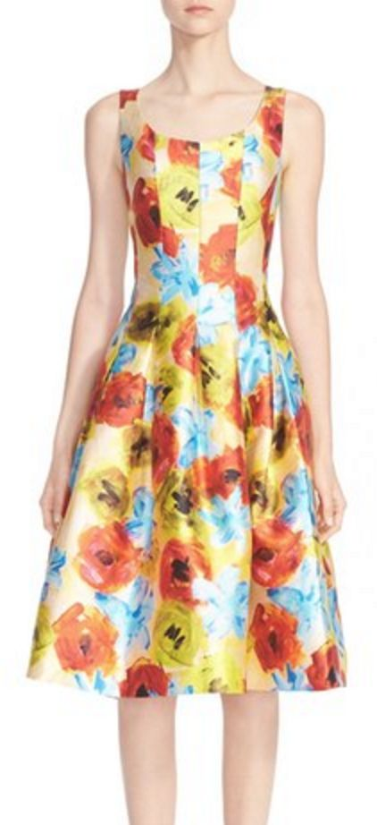 Fit and Flare Silk Floral Dress