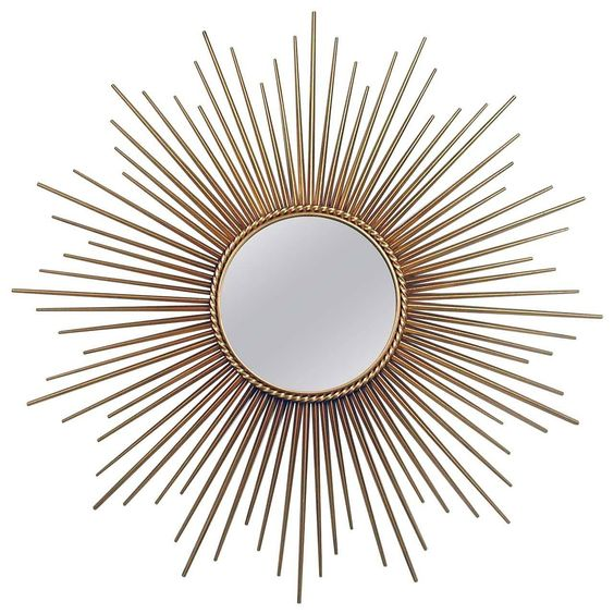 Large French Chaty Vallauris Gilt Sunburst Starburst Wall Mirror 1950s | From a…