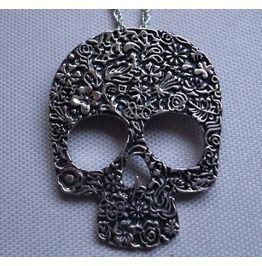 Silver Skull Rose Necklace