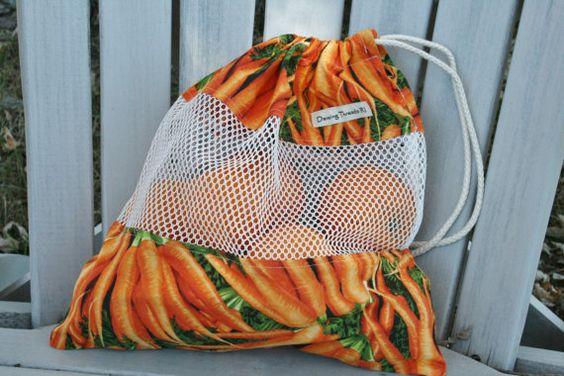 Orange Carrots Reusable Mesh Produce or Beach by DancingThreadsRI, $12.00
